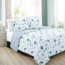 Bali-Collection-3-Piece-Coastal-Beach-Theme-Quilt-Set 100+ Nautical Quilts and Beach Quilts