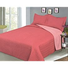 Baltic-Linen-Company-Luxury-Fashionable-Reversible-Solid-Color-Mini-Quilt-Sets-Coral Coral Bedding Sets and Coral Comforters