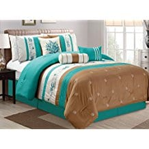 Bedding-TURQUOISE-BLUE-BEIGE-BROWN-Tropical-Coast-Seashell 100+ Best Seashell Bedding and Comforter Sets 2020