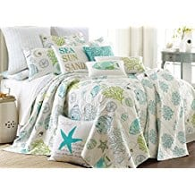 Biscayne-King-Quilt-Set-Aqua-Coastal 100+ Nautical Quilts and Beach Quilts