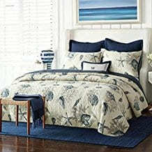 Blue-Shell-Tread-Design-3-Piece-Comforter-Quilt Nautical Quilts and Beach Quilts