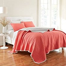 Brylanehome-Marlow-Crinkle-Quilt-Coral-Reef Coral Bedding Sets and Coral Comforters