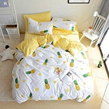 BuLuTu-Pineapple-Print-Pattern-duvet-cover 50+ Pineapple Bedding Sets, Quilts, and Duvet Covers For 2020