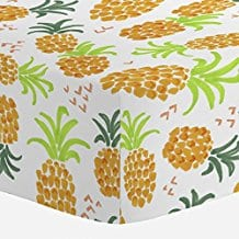 Carousel-Designs-Golden-Pineapples-Crib-Sheet 50+ Pineapple Bedding Sets, Quilts, and Duvet Covers