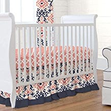 Carousel-Designs-Navy-and-Coral-Ikat-2-Piece-Crib-Bedding-Set Coral Bedding Sets and Coral Comforters