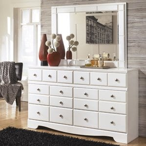 Carrabassett6DrawerDoubleDresserwithMirror Beach Bedroom Furniture and Coastal Bedroom Furniture