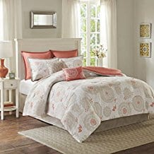 Comfort-Spaces-Emily-Comforter-Set-8-Piece-Coral-Duvet-Cover Coral Bedding Sets and Coral Comforters