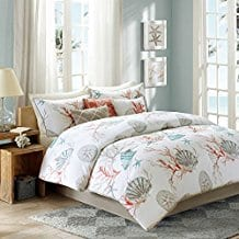 Coral-Seashells-Starfish-Beach-King-Comforter-Set Nautical Bedding Sets & Nautical Bedspreads