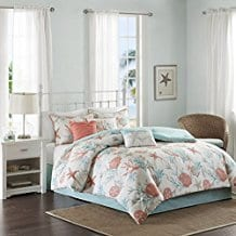 Coral-Teal-Seashells-Starfish-Beach-King-Comforter-Set Nautical Bedding Sets & Nautical Bedspreads