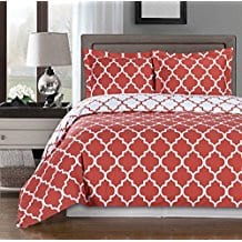Coral-and-White-Meridian-King-Duvet-Cover-Set Coral Bedding Sets and Coral Comforters