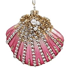 December-Diamonds-Blown-Glass-Embellished-Pink-Seashell-Shell-Christmas-Ornament 100+ Best Seashell Christmas Ornaments