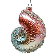 December-Diamonds-Red-and-Blue-Spiral-Seashell-Glass-Christmas-Ornament- 100+ Best Seashell Christmas Ornaments