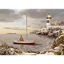 Decorated-Harbor-with-Lighthouse-18 Beach Christmas Cards and Nautical Christmas Cards