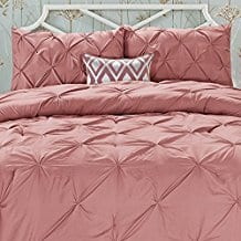 Elegant-Comfort-Wrinkle-Resistant-All-Season-Luxury-Silky-Soft-Pintuck-3-Piece-Comforter-Set Coral Bedding Sets and Coral Comforters