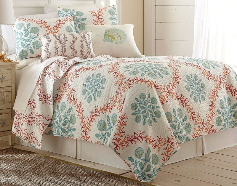 Elise-James-Home-Coral-Trellis-Quilt-Set--800x628 100+ Nautical Quilts and Beach Quilts