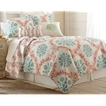Elise-James-Home-Coral-Trellis-Quilt-Set-King Coral Bedding Sets and Coral Comforters
