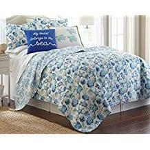 Elise-James-Home-Melanie-Quilt-Set-FullQueen-Blue 100+ Best Seashell Bedding and Comforter Sets 2020