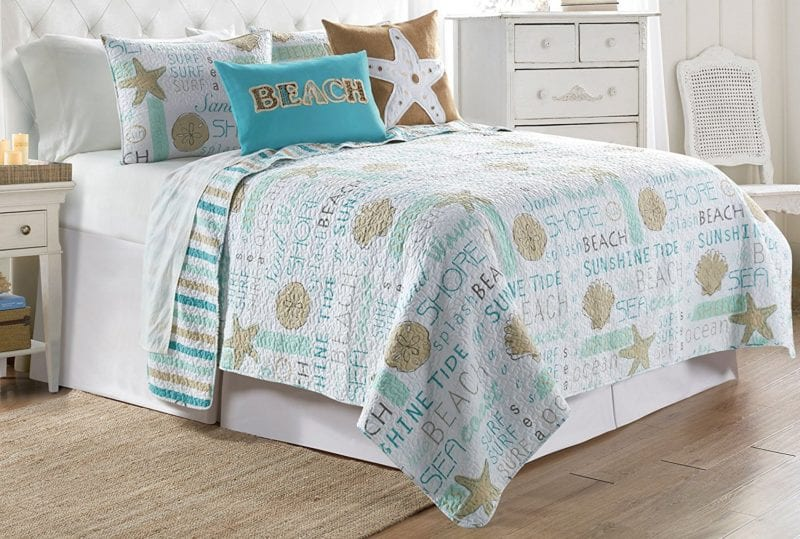 Elise-James-Home-Seahorse-Typography-Quilt-Set-King-Blue-800x539 100+ Nautical Quilts and Beach Quilts