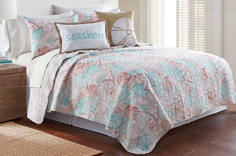Elise-James-Home-Shell-Beach-Quilt-Set--800x529 100+ Nautical Quilts and Beach Quilts