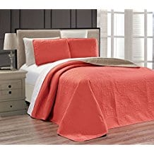 Embossed-Coral-Medallion-Bedspread-Quilt-Set Coral Bedding Sets and Coral Comforters