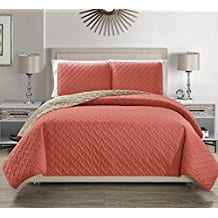 EverRouge-Simplicity-3pcs-Quilted-Set-Coral-Beige Coral Bedding Sets and Coral Comforters