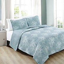 Fenwick-Collection-3-Piece-Coastal-Beach-Theme-Quilt-Set Seashell Bedding and Comforter Sets