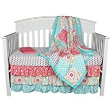 Gia-Floral-Coral-Aqua-4-In-1-Baby-Girl-Bedding-Set-by-The-Peanut-Shell Coral Bedding Sets and Coral Comforters
