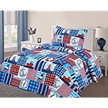 GorgeousHomeLinen-New-2-Piece-Twin-Bed-Kids-Design-Quilt 100+ Nautical Quilts and Beach Quilts