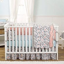 Grey-Dahlia-4-In-1-Baby-Girl-Crib-Bedding-Collection-by-Balboa-Baby-Coral Coral Bedding Sets and Coral Comforters