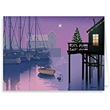 Holiday-Marina-Nautical-Card-18-Cards-and-Envelopes Beach Christmas Cards and Nautical Christmas Cards