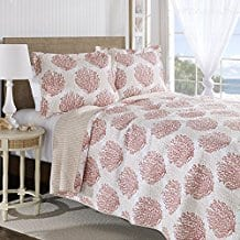 Laura-Ashley-Coral-Coast-Quilt-Set Coral Bedding Sets and Coral Comforters