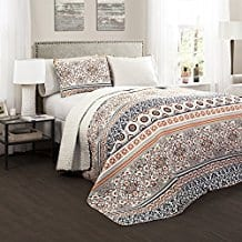 Lush-Decor-3-Piece-Nesco-Quilt-Set-navy-cioral Coral Bedding Sets and Coral Comforters