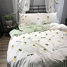 Luxury-Embroidery-Bedding-Set-Twin-3-PC-Cotton-Duvet-Cover-Set 50+ Pineapple Bedding Sets, Quilts, and Duvet Covers