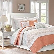 Madison-Park-Coral-Quilt-Set Coral Bedding Sets and Coral Comforters