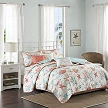 Madison-Park-Pebble-Beach-6-Piece-Quilted-Cotton-Coverlet-Set-Coral-Teal Coral Bedding Sets and Coral Comforters