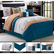 NAVY-BLUE-WHITE-BROWN-Tropical-Coast-Seashell-Starfish 100+ Best Seashell Bedding and Comforter Sets 2020