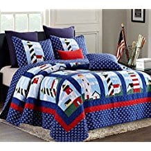Nautical-Lighthouse-3pc-FullQueen-Size-Quilt-Set 100+ Nautical Quilts and Beach Quilts