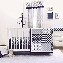 Nautical-Whales-and-Anchors-Navy-4-Piece-Crib-Bedding-Set-by-The-Peanut-Shell Nautical Crib Bedding & Beach Crib Bedding Sets