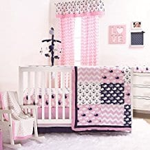 Nautical-Whales-and-Anchors-Pink-4-Piece-Crib-Bedding-Set Nautical Crib Bedding & Beach Crib Bedding Sets