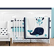Navy-Blue-and-White-Whale-Nautical-Ocean-Baby-Boys-or-Girls-9-Piece-Crib-Bedding-Set Nautical Crib Bedding and Beach Crib Bedding