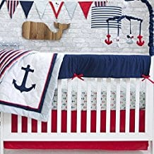 Pam-Grace-Creations-6-Piece-Anchors-Away-Crib-Bedding-Set Nautical Crib Bedding and Beach Crib Bedding