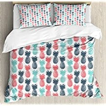 Pineapple-Duvet-Cover-Set-by-Ambesonne 50+ Pineapple Bedding Sets, Quilts, and Duvet Covers