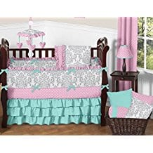 Polka-Dot-and-Gray-Damask-Girls-Baby-Bedding-9-Piece-Crib-Set Nautical Crib Bedding and Beach Crib Bedding