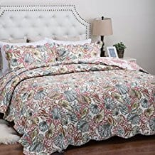 Printed-Quilt-Coverlet-Set-King 100+ Best Seashell Bedding and Comforter Sets 2020