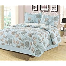 Queen-Quilt-Set-3-Piece-Seashell-Coral-Light-Blue-and-Gray Seashell Bedding and Comforter Sets
