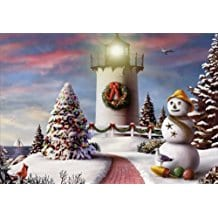 Red-Path-and-Lighthouse-christmas-cards-18 Beach Christmas Cards and Nautical Christmas Cards