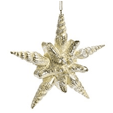 Sea-Shell-Star-Shaped-Glitter-Hanging-Christmas-Ornament 100+ Best Seashell Christmas Ornaments