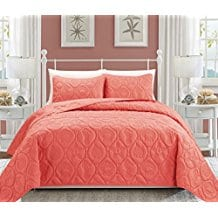 Seashell-Coral-Reversible-Bedspread Coral Bedding Sets and Coral Comforters