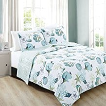 Seaside-Collection-3-Piece-Coastal-Beach-Theme-Quilt-Set 100+ Nautical Quilts and Beach Quilts