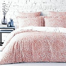 Stone-Washed-Flax-Linen-Duvet-Quilt-Cover-Coral Coral Bedding Sets and Coral Comforters